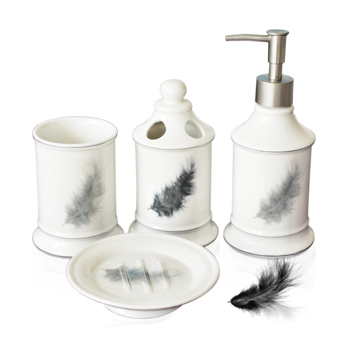 Amazon.com: Brandream Vintage 4-Piece Ceramic Bath Accessory Set ...