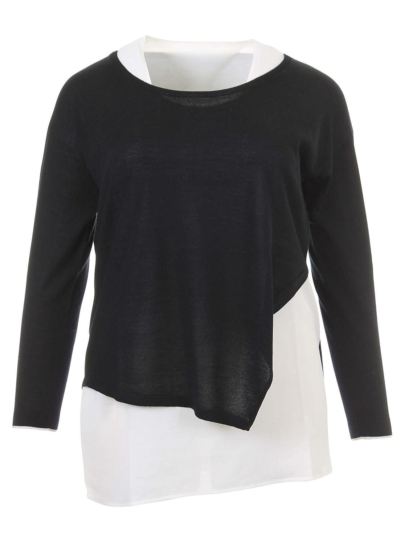 Langarmshirt im Lagen-Look in schwarz/weiß in Übergrößen (L, M, XL, XXL) von Elena Miro