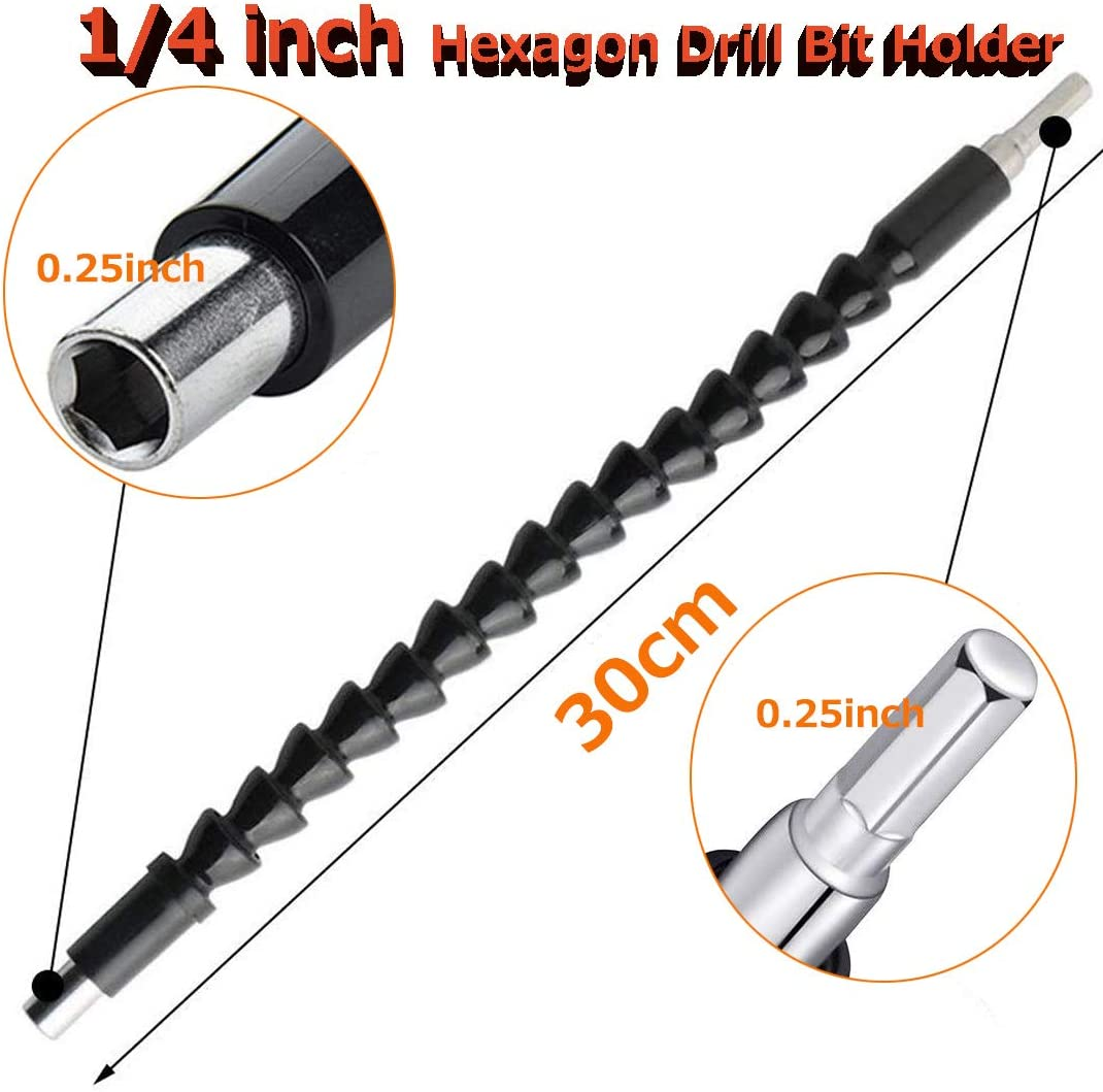 YTFGGY 11.8 inch Magnetic Hex Soft Shaft Black Flexible Screwdriver Extension for Connect Drive Shaft Tip Drill Bit Kit Adaptor 2 Pack Flexible Drill Bit Extension with 10 Drill Bit Sets