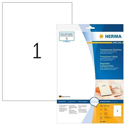 Herma 8964 - Etiquetas para impresoras (10 unidades), transparente ...