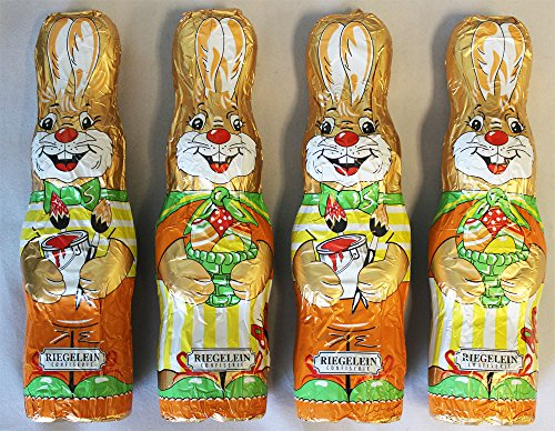 Chocolate Easter Bunnies /Schokoladen Osterhasen (Pack of 4) - Made in Germany by Riegelein