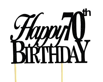 Happy Birthday Fonts ~ Amazon.com: all about details black happy 70th birthday cake topper