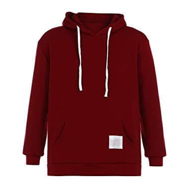 62b32c864 Mens Hoodie Sweatshirt Loose Patchwork Long Sleeve Kangaroo Pocket  Drawstring Pullover Hooded Tops (S,