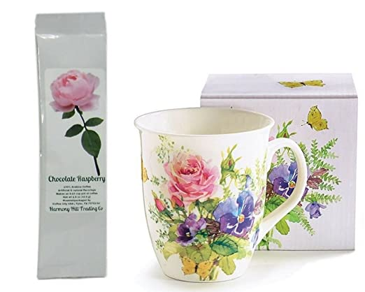 Spring Flores Blooms Mariposas Floral taza de café taza con ...