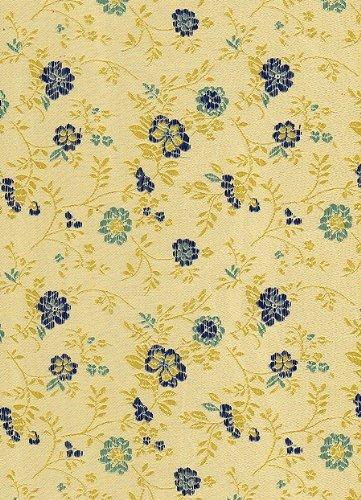 Satin Brocade Book Cloth- Blue Wildflowers 17x26 Inch Sheet FineArtStore