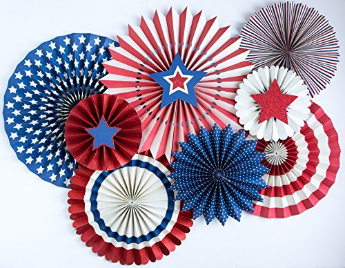Two Sided Fan Flag - My Mind's Eye - Fourth of July Star and Stripes Paper Party Fans - 8 Count - Decorations
