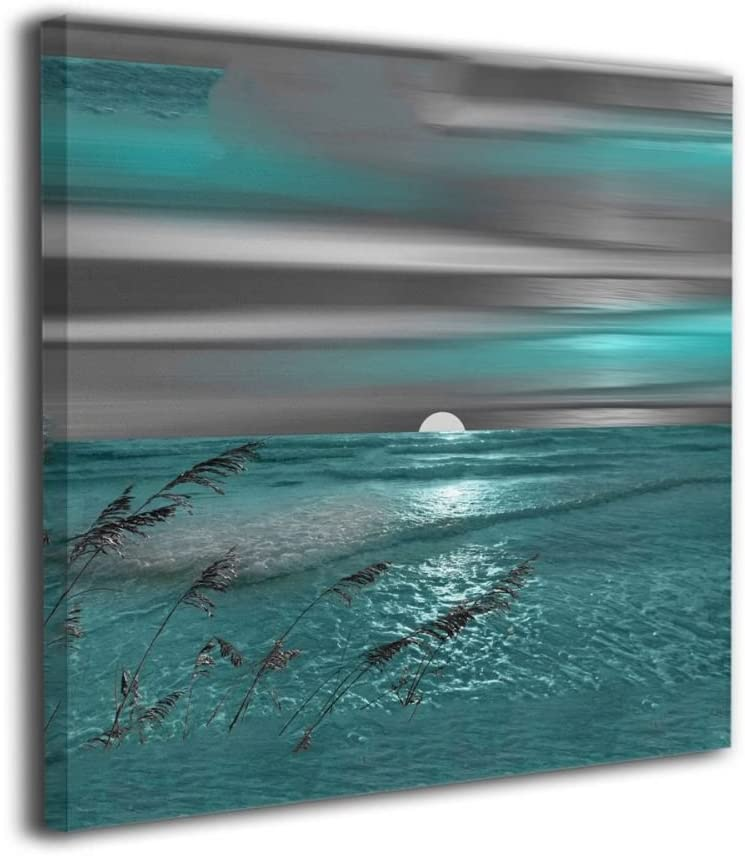 Okoart Canvas Wall Art Prints Teal Grey Coastal Beach Picture Paintings Modern Decorative Artwork for Living Room Wall Decor and Home Decor Framed Ready to Hang