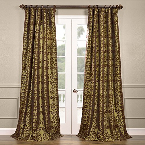 Half Price Drapes PTFFLK-C7-96 Flocked Faux Silk Curtain, Firenze Fern