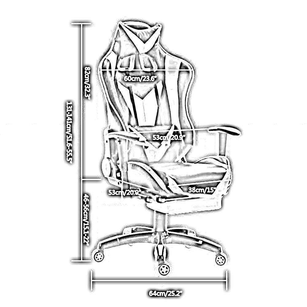 JIEER-C stol kontorsstol PC racerstol hög rygg liggande datorstol med nackstöd och ländrygg stöd justerbar racerstol för nätverksklubb kontor, svart röd Svart vit