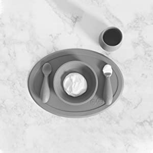 ezpz Tiny Collection Set (Gray) - 100% Silicone Cup, Spoon & Bowl with Built-in Placemat for First Foods + Baby Led Weaning + Purees - Designed by a Pediatric Feeding Specialist - 4 Months+