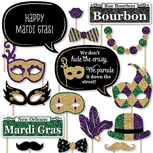 Big Dot of Happiness Mardi Gras - Masquerade Party Photo Booth Props Kit - 20 -