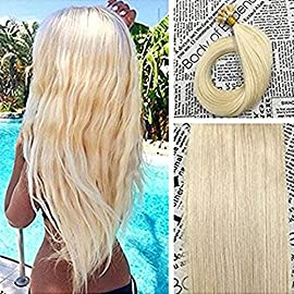 Moresoo Keratin Hair Extensions 16 Inch Pre Bonded U Tip Hair Extensions Color #18 Ash Blonde Mixed with #613 Bleach…
