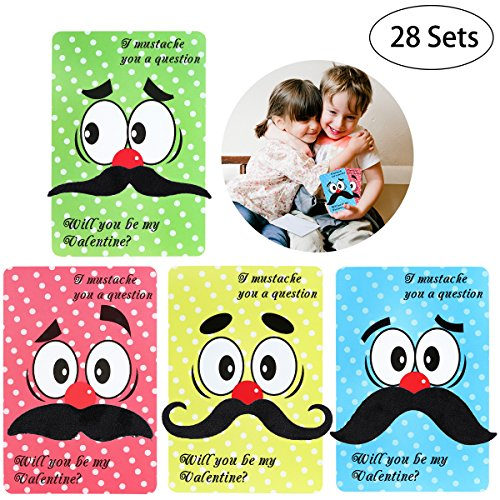 UNOMOR Valentine Card Pack Including 28 Valentines Day Cards,28 Funny Mustaches and 28 Envelopes