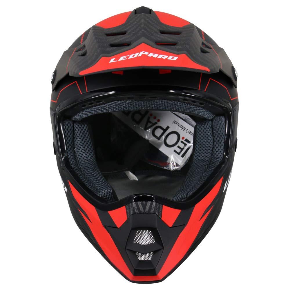 Leopard LEOX307 Moto Cross Integrale Donna e Uomo Omologato ECE Nero Opaco S 55-56cm