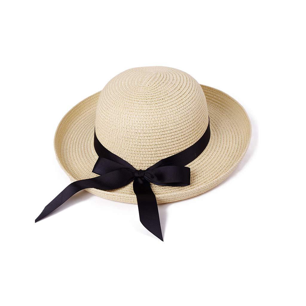 TeemorShop Women Summer Sun Visor Hat Detachable Satin Ribbon Bowknot Crimping Cap