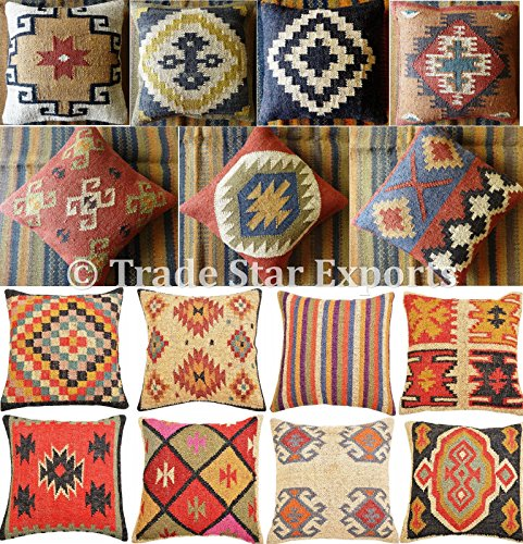 Fair Trade Set of 5 Kilim Pillow Cover 18×18, Handwoven Jute Cushion, Indian Pillowcases, Handmade Kelim Rug Cushion…