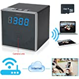 WISEUP 8GB 1920x1080P HD Wireless WiFi Network Cameras Indoor Spy Clock Cam Motion Activated Security DV Camcorder with 140° Wide View Angle Support iPhone Android APP Remote View