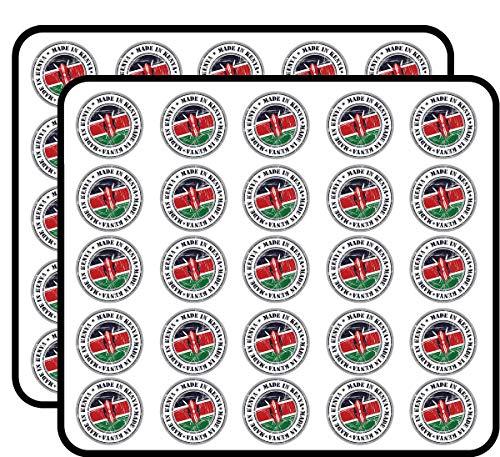 Made in Kenya Grunge Flag Stamp Art Decor Sticker for Scrapbooking, Calendars, Arts, Kids DIY Crafts, Album, Bullet Journals 50 Pack