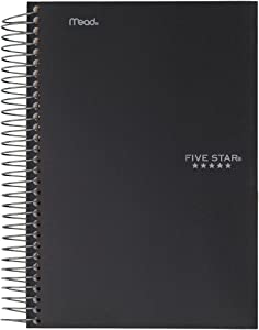 """Five Star Spiral Notebook, 1 Subject, College Ruled Paper, 100 Sheets, Colored Small Note Book, Lined Paper, Home School Supplies for College Students & K-12, 7"""" x 5"""", Personal Size,Black (73969)"""