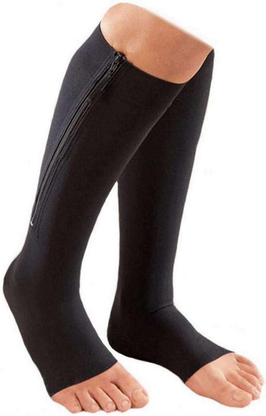 Beige, S//M Starmace 30-40 mmHg Zipper Compression Medical Leg Calf Swelling Open Toe Socks