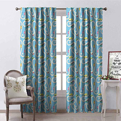 - GloriaJohnson Kids Activity Shading Insulated Curtain Cartoon Style Road with a Variety of Vehicles Buses Cars and Trucks Driving Soundproof Shade W52 x L54 Inch Multicolor