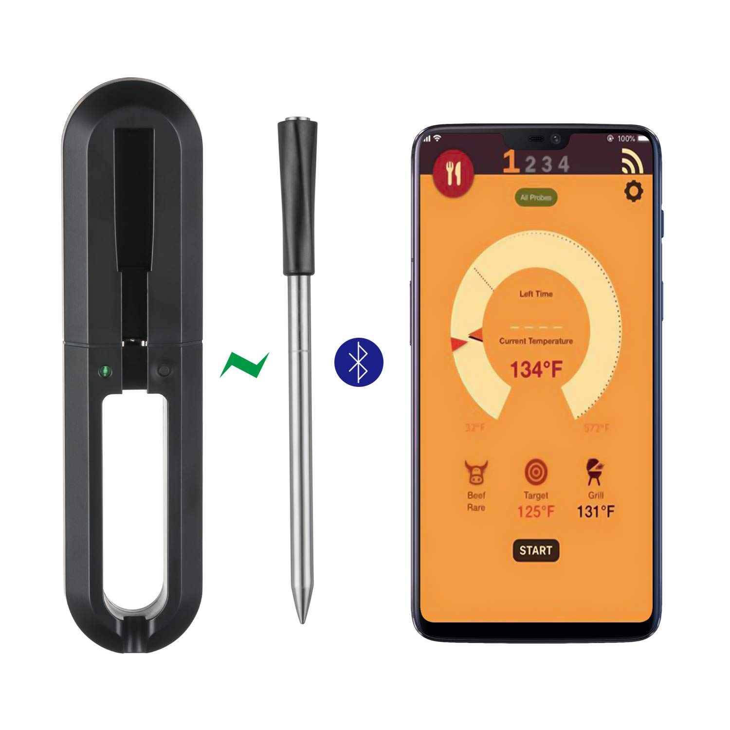 gootrades Wireless Meat Thermometer - 100ft Range True Smart Bluetooth Connectivity Flesh Thermometer for Grill Oven Rotisserie BBQ Candy Kitchen Food