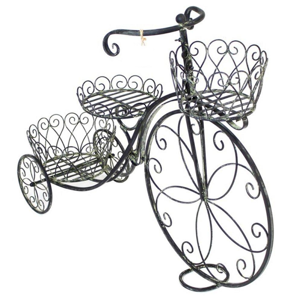 HM Retro Flower Stand Cavalletto in Ferro in Stile Europeo per Biciclette a Forma di Fiore Balcone espositore per Soggiorno (Nero, 38,6  11,8  28,3 Pollici)