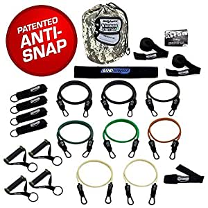 Bodylastics 19 pcsSTRONG MAN XT (254 lbs.) Quick-Clip Resistance Bands System with 7 D.G.S. anti-snap exercise tubes, Heavy Duty components & 7 DVDs