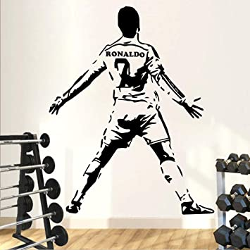 ZRSCL Calcomanías de vinilo Ronaldo de 7 fútbol Etiqueta de la pared Murales de papel tapiz Decoración del hogar para habitaciones de niños Dormitorio de bricolaje Mural Poster Football58CMX73CM: Amazon.es: Bricolaje y