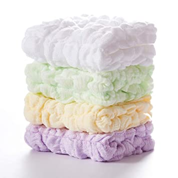 Natural Cotton Wipes for Newborn Sensitive Skin Muslin Baby Washcloths 10 Pack Soft Bath Washcloths for Boys or Girls Organic Muslin Cotton Face Towels