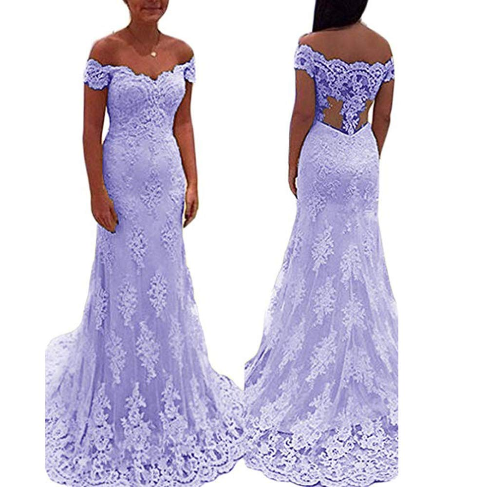 Lavender YNQNFS Women's lace Appliques Homecoming Prom Long Dresses Mermaid Bridesmaids Gowns