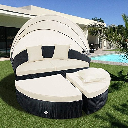 Cloud Mountain Outdoor Furniture 4 Piece Wicker Rattan Round Outdoor Daybed Sectional Sofa Retractable Comfortable Modern Style Easy Assembly Patio Lawn Garden Backyard Pool Balcony with Canopy Black