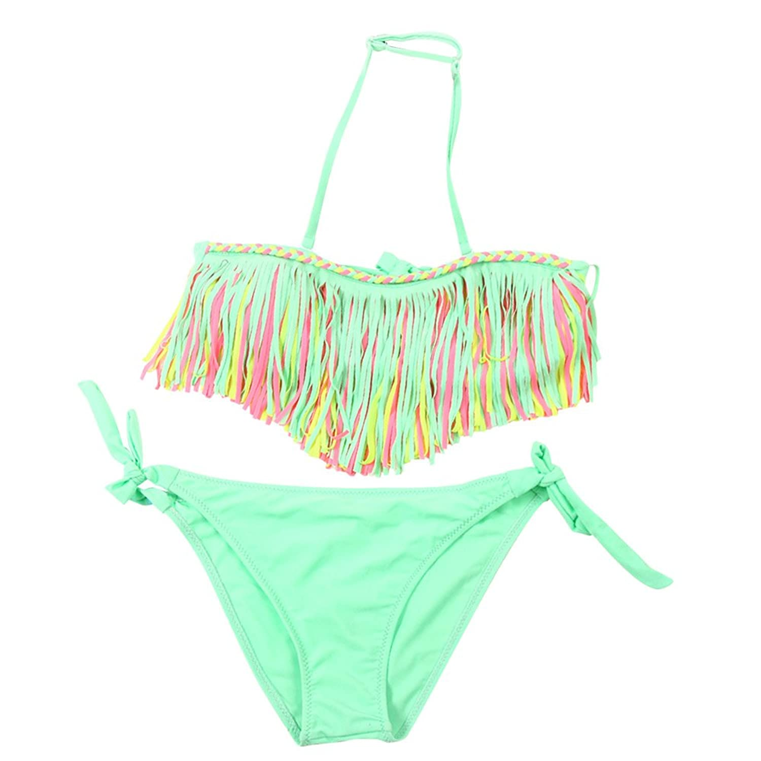 75c4ac91617d6 Wocharm Girls Kids Baby 3-12 Year Old Cute Summer Tassel Nylon Swimsuit  Bikini Set 2 Pcs