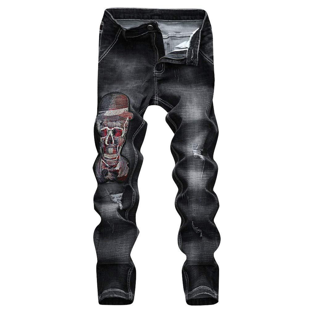 VonVonCo Men Embroidery Denim Cotton Straight Hole Pocket Trousers Distressed Jeans Pants 28-38