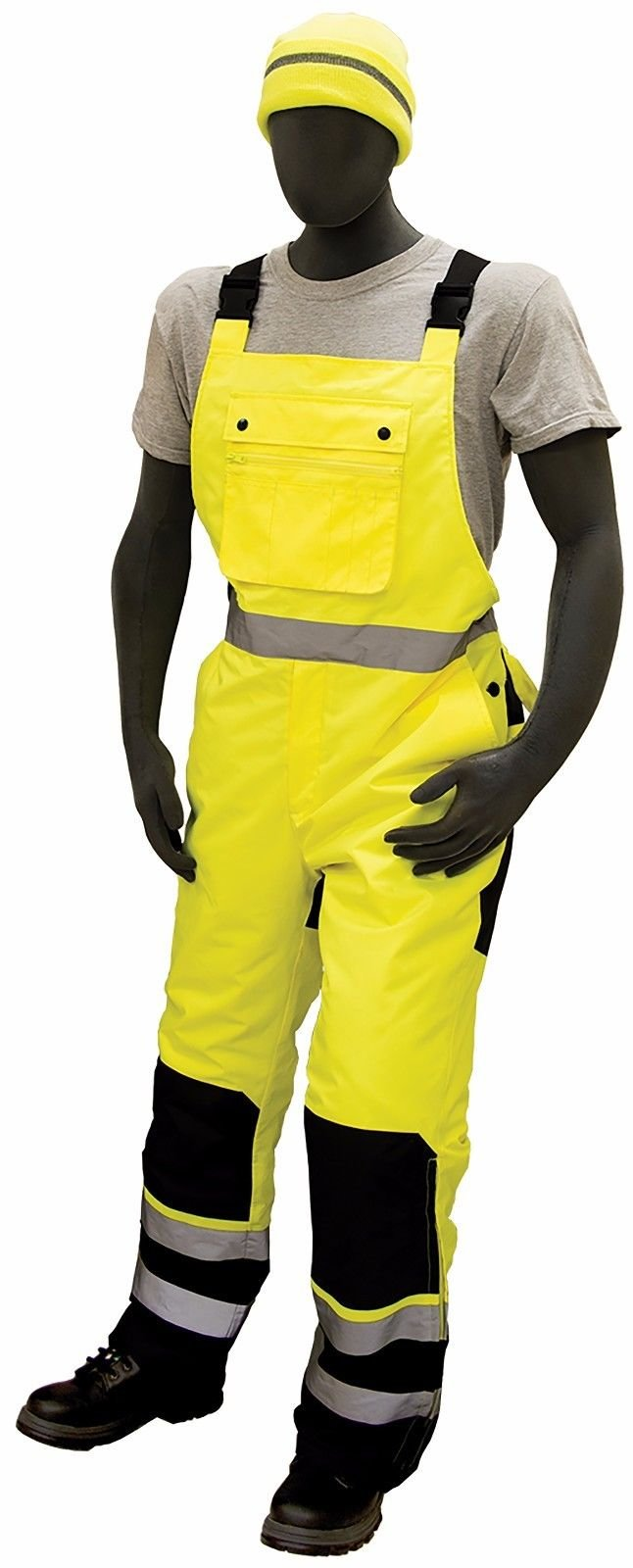 Majestic 75-2357 ANSI Class E Hi-Viz Bib Overalls, Waterproof, Quilted Insulation, Reinforced Nylon Rip-Stop, Zippers at Ankle, 3M Scotchlite, Yellow/Black, Size: XL