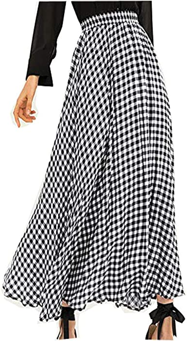 ACEBABY Faldas Largas Fiesta Line Faldas Mujer Impresión a Cuadros ...