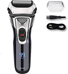 Electric Razor for Men,IPX7 Waterproof Men's Electric Shaver,AWECOT Rechargeable Foil Shaver Trimmer with 3D Floating Blades,Pop-up Trimmer and LED Display,Wet & Dry Use for Beard Shaving