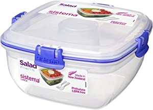 Sistema To Go Collection Salad Compact Food Storage Container, 4.6 Cup, Blue | Great for Meal Prep | BPA Free, Reusable