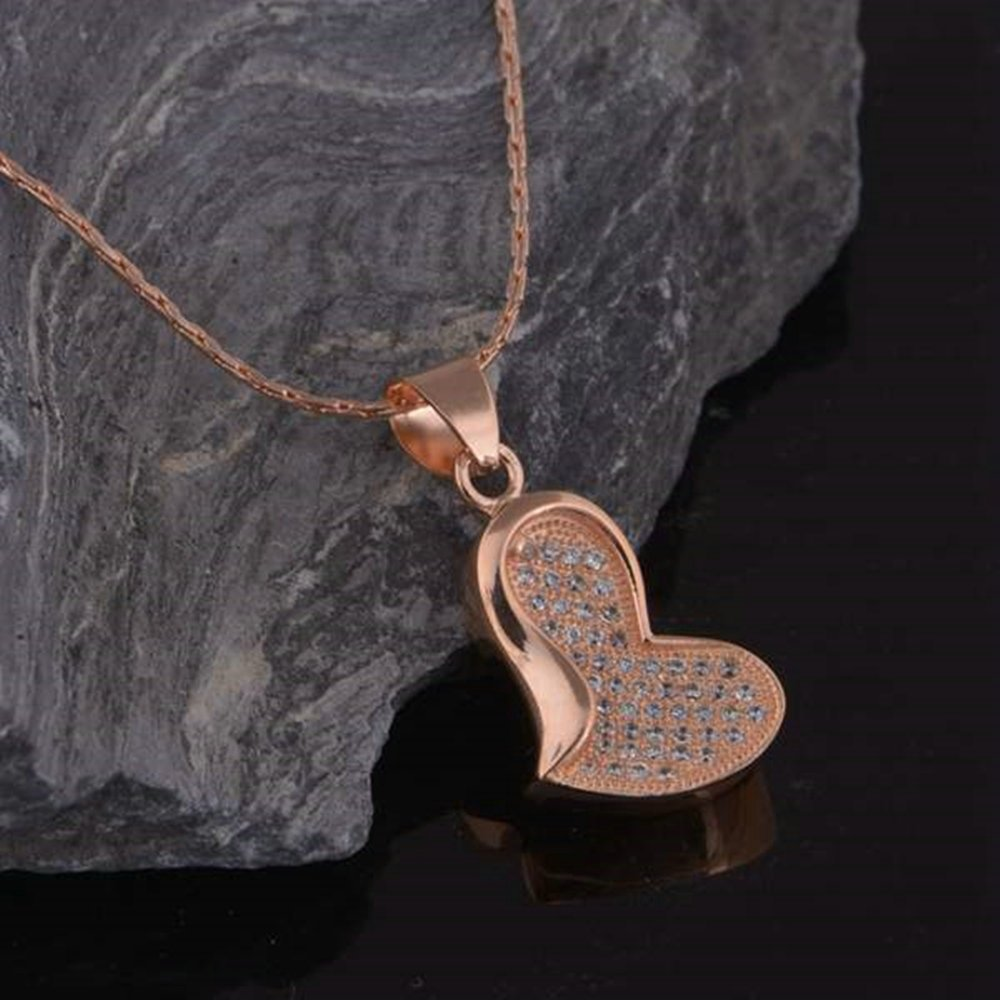 Onefeart Rose Gold Plated Pendant Necklace for Women Girls White Crystal Heart Pendant 45CMx26X13MM