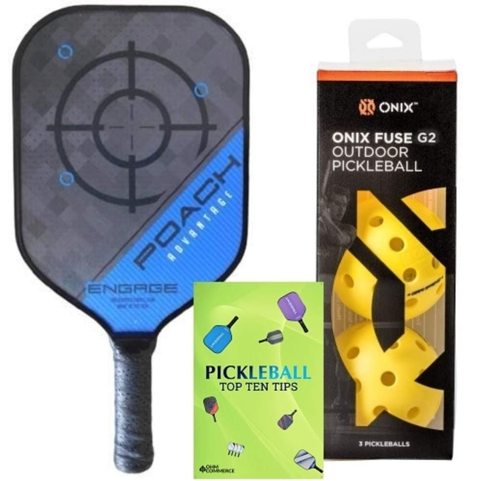 Engage Poach Advantage Composite Pickleball Paddle & Onix 3-Pack Fuse G2 Pickleball Balls & Free Pickleball Tips - Premier Pickleball Set for Beginner and Pro Players (Lightweight, Blue)