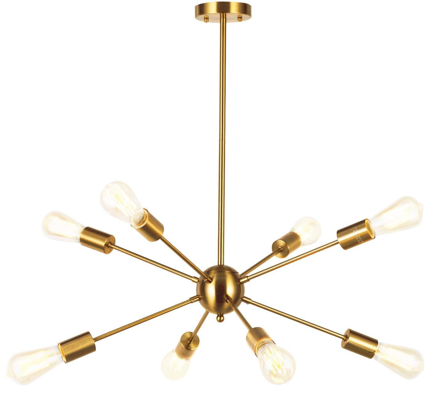 Vinluz sputnik chandelier contemporary 8 lights brushed brass modern pendant lighting gold mid century ceiling light fixture for dining room bed room