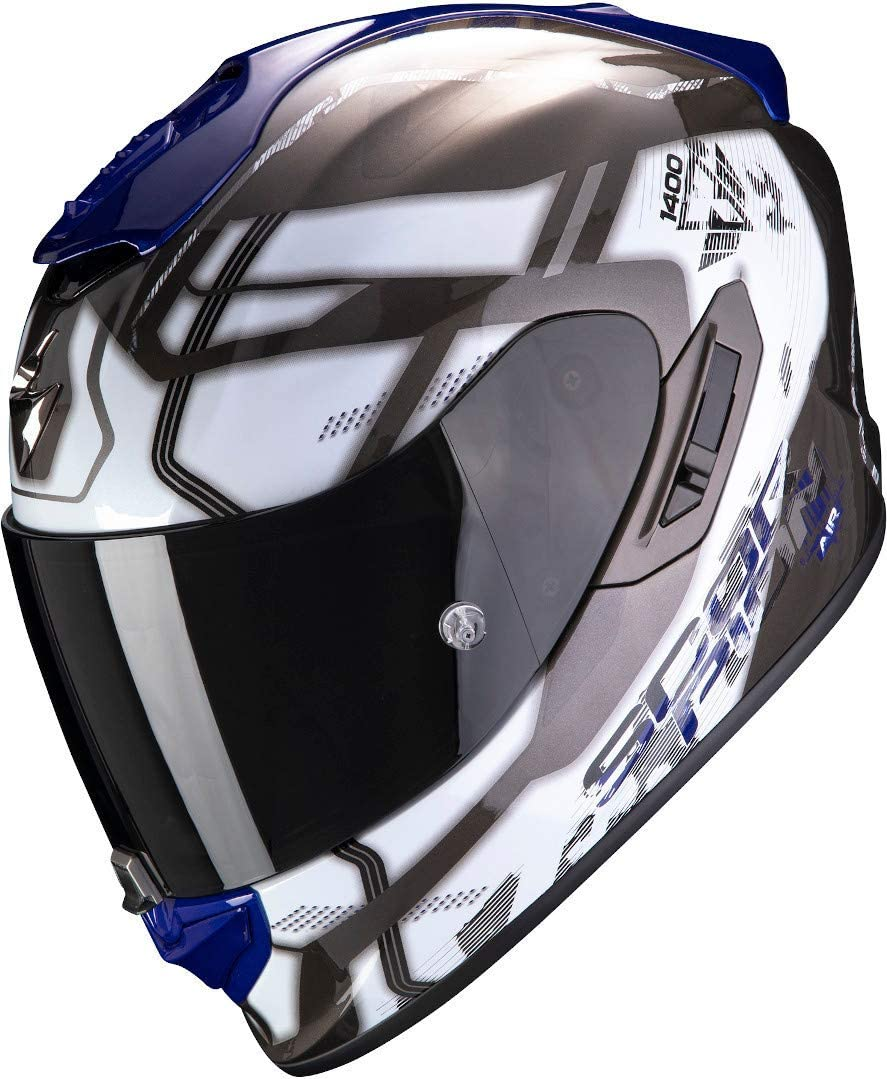 Scorpion Casco de moto EXO-1400 AIR SPATIUM White-Blue Blanco//Azul M