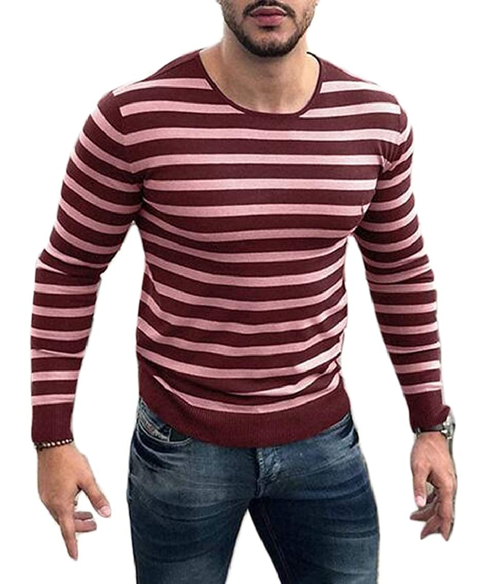 Jmwss QD Mens Slim Round Neck Pullover Sweater Long Sleeve Stripe Knit Sweater