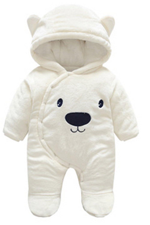YOGLY Bebé Ropa Invierno Animales Dibujos Animados Oso Encapuchado Mono Pijama Mameluco para Bebé, 0-16 Meses