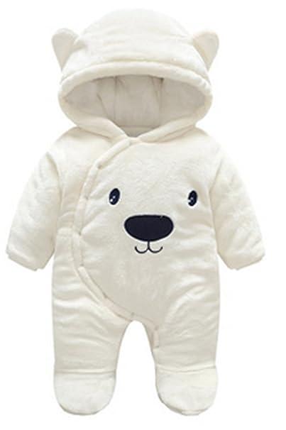 YOGLY Bebé Ropa Invierno Animales Dibujos Animados Oso Encapuchado Mono Pijama Mameluco para Bebé, 0