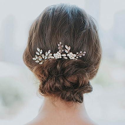 Yean pasadores de pelo de novia boda pelo Clips accesorios para las mujeres  y las niñas 20c55b4d1ab7