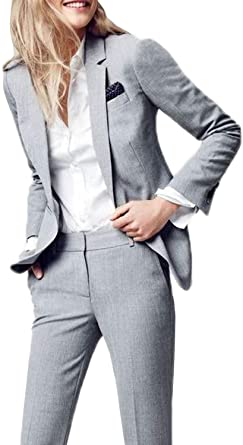 Amazon Com Lilis Women S Suits Slim 2 Pieces Blazer Jacket Pants Flat Front Suit Set Clothing