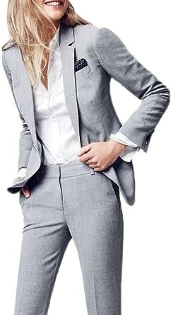 Amazon Com Lilis Women S Suits Slim 2 Pieces Blazer Jacket Pants Flat Front Suit Set Clothing