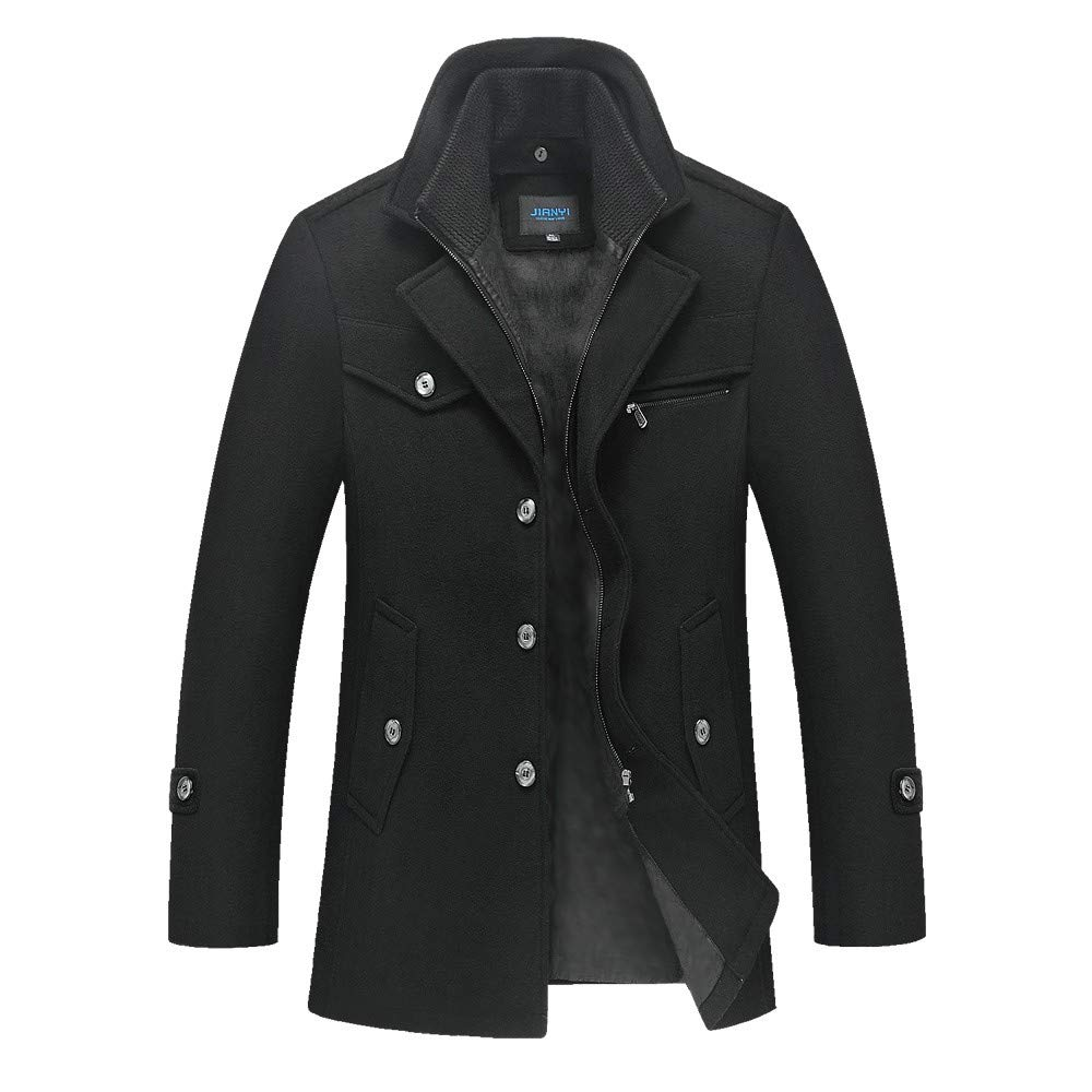 Allywit Mens Gentle Layered Collar Single Breasted Quilted Lined Wool Blend Pea Coats