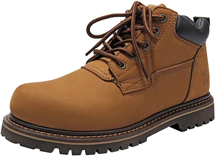 CAMEL CROWN Mens Boots Leather Work Boots Combat Lace up Ankle Boots Safety  Boots Soft Toe Casual Chukka Boots Shoes Coffee: Amazon.co.uk: Shoes & Bags